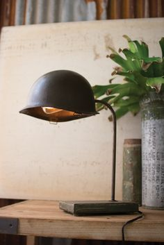 VINTAGE ARMY HELMET DESK LAMP