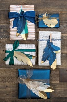 This creative feather wrapping paper is a darling DIY for the holiday season