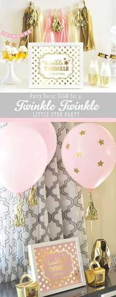 Twinkle Twinkle Little Star Birthday Decorations SIGN  by ModParty