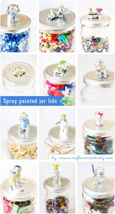 Spray painted jar lids with colored details. Tutorial.