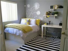 Lemon and grey bedroom
