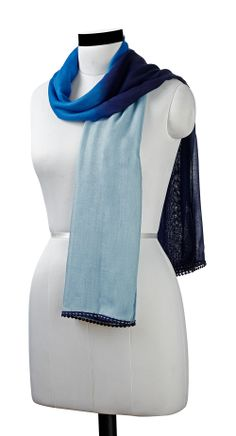 Dip dyed ombre scarf with pom-pom lace. Love this!