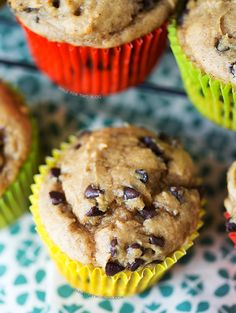 If you've got some over-ripened bananas lying around, these banana peanut butter chocolate chip muffins need to make an appearance on your breakfast table!