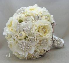 Brooches Blooms Bridal Bouquet Silk Flower By Songsfromthegarden 350 00 Bride Bouquets