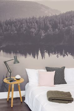Fall asleep under this hazy forest landscape with this beautiful wallpaper design. Acting as an unique headboard, it's perfect for the bedroom or living room space.
