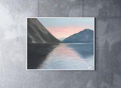 Norwegian Fjord Painting, 14 x 11, Oil Painting, Original Art, Landscape Painting, Sunset Painting, Norway Painting, Norwegian Art by CFineArtStudio on Etsy