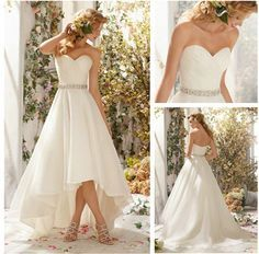2014 New Arrive Elegant Style Sweetheart Crystal Sash High Low Wedding Dresses Short Front Long Back $149.00