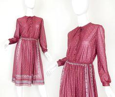 Vintage 80s Scarf Print Secretary Dress - Semi Sheer Scarf Print Deep Mauve Women's Below the Knee Dress - Size Medium