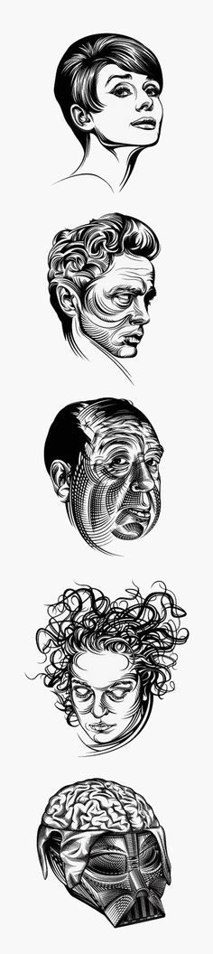 Vector portrait illustrations by Ruslan Khasanov. Nicely shaded.