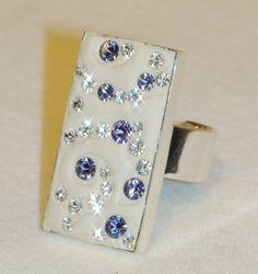 ON SALE  Tanzanite and Diamond Swarovski Crystal by JLSjewelry, $34.00