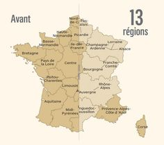 Before/after slider of new administrative regions in France.