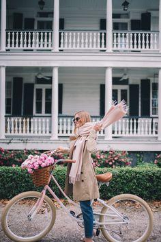 Gal Meets Glam Winter Bike Ride -Pure Cycle Pink Bike, Burberry trench, J.Crew sweater, J.Crew jeans, Ferragamo pumps, Ray Ban sunglasses & Mansur Gavriel bag
