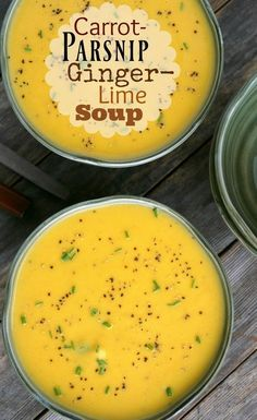 Carrot Parsnip Ginge Carrot Parsnip Ginger Lime Soup is a perfect soup for the Fall season Carrot And Parsnip Soup, Turnip Soup, Parsnip Recipes, Carrot Ginger Soup, Parsnip Ideas, Carrot And Ginger Recipes, Ginger Soup Recipe, Vegetarian Recipes, Cooking Recipes