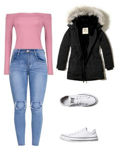"""""""outfits para la universidad"""" by paola-oliveros on Polyvore featuring Boohoo, Converse and Hollister Co."""