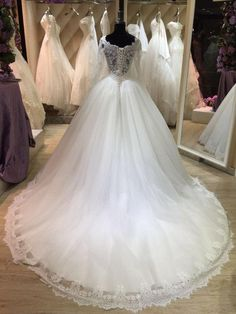 Bateau Neck Long Illusion Sleeve Tulle Ball Gown With Lace Hemline – June Bridals