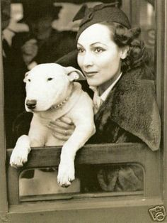 DOLORES DEL RIO & her English Bull Terrier, Faultless of Blighty