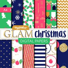These Glamorous gold glitter, pink, and navy Scrapbook Digital Papers are modern, pretty, festive, and printable! Use in traditional scrapbooking,
