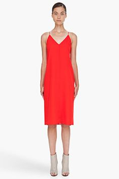 So simple and yet so right.  T BY ALEXANDER WANG Red Silk Slip Dress $295