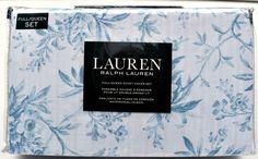 RALPH LAUREN Cottage Toile French Country Queen DUVET COVER 3pc Set Blue White #RalphLauren #Cottage