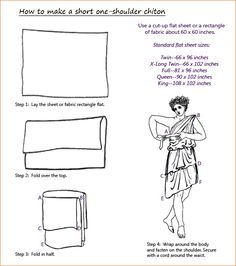 Bed sheet short chiton instructions. Page also has a link for the full-length Doric chiton and the Ionic chiton.