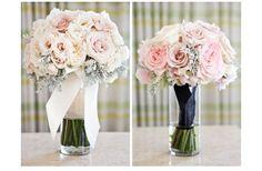 romantic wedding flowers pink ivory bridal bouquet | OneWed.com