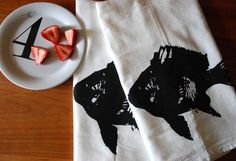 Hand Screen Printed Fish Towel Pair Black by branchhandmade