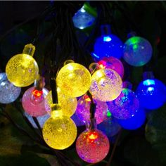 Zitrades 20 LED Crystal Ball Solar Powered Outdoor String Lights for Outside Garden Patio Party Christmas colorful