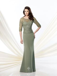 Illusion Elbow-length Sleeve Sage Crepe Slim A-line Mother of the Bride Dress