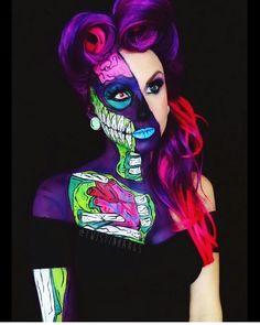 Trendy Pop Art Zombie Make-up – Kaelyn Perez – Make-up-Ideen Zombie Make Up, Pop Art Zombie, Zombie Girl, Amazing Halloween Makeup, Halloween Looks, Halloween Face Makeup, Halloween Costumes, Pop Art Makeup, Crazy Makeup
