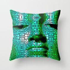 Green Buddha - Stone Rock'd Art By Sharon Cummings Throw Pillow by Sharon Cummings | Society6 #buddha #green #mosaic