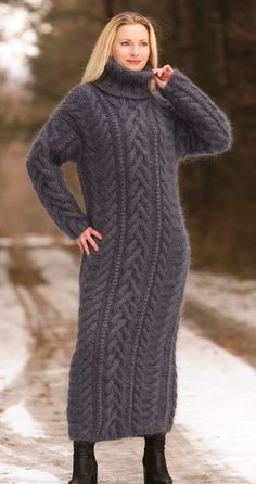 SUPERTANYA BLUISH GRAY Hand Knitted Mohair Sweater Dress Handcrafted Robe SALE #SuperTanya #TurtleneckMock