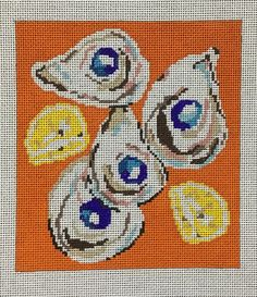 Oysters Needlepoint Designs, Sign Quotes, Oysters, New Orleans, Persian, Scandinavian, Stitches, Mesh, Hand Painted