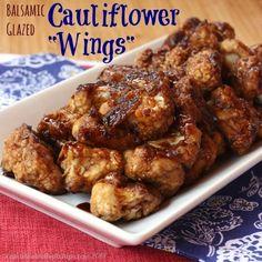 "Balsamic Glazed Cauliflower ""Wings"" - Cupcakes & Kale Chips"