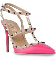 Best Price Valentino Casual Rockstud 100mm Rose Leather T-Strap Sandal Pumps Best-Brand