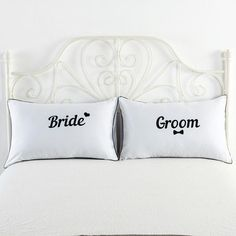 Adorable couple pillow cases for the bride and groom! Great gift for a wedding shower :)