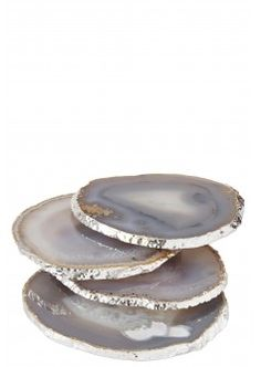 Silver Trim Agate Coasters. I bet you could find these at Home Goods for about 20 times less...