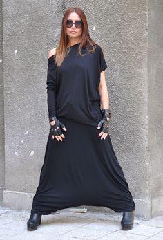 New colection - Jumpsuit, Black Jumpsuit, Asymmetrical Jumpsuit, Drop Crotch Harem Pants by EUGfashion on Etsy https://www.etsy.com/listing/224943751/new-colection-jumpsuit-black-jumpsuit