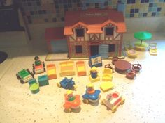 Vintage Fisher-Price Little People Tudor House Loaded! Clean ready for play!