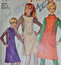 1960s Vintage Simplicity Pattern 7255 Junior Jumper size junior 9 bust 30.5