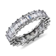 Emerald-Cut Diamond Eternity Ring in Platinum ct.) Maybe for 5 year anniversary? Eternity Ring Diamond, Diamond Rings, Eternity Rings, Gold Rings, Blue Nile Jewelry, Wedding Rings For Women, Wedding Bands, Emerald Cut Diamonds, Just In Case
