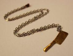 "Butcher Knife Pendant w/ 20"" Chain Link Necklace - Gold Tone Pendant w/ Silver Tone Chain Finish"