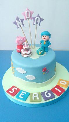 Tarta de Pocoyo y Peppa Pig para un cumpleaños