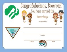 Brownie Dancer Badge Certificate