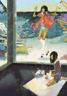 Hailing all the way from Japan, Fuco Ueda is a super-talented artist whose paintings feature beautiful women in surreal situations. Art Pop, Pretty Art, Cute Art, Underwater Art, Art Sites, Pop Surrealism, Dream Art, Art And Illustration, Surreal Art