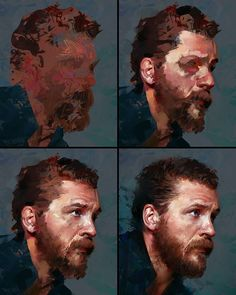 Process stages to my Tom Hardy study :) #portrait #tutorial #stepbystep #process…
