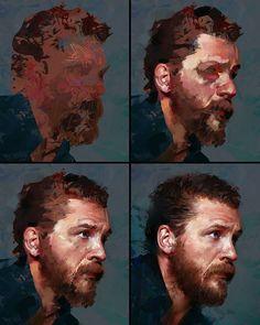 Process stages to my Tom Hardy study :) #portrait #tutorial #stepbystep #process…