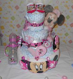 Newborn Minnie Mouse Diaper Cake | Beautiful 3 Tier Minnie Mouse Diaper Cake Baby Shower Gift Hospital ...