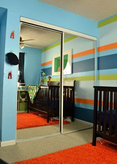 Isaac newton striped wall baby nursery 3
