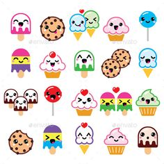 Kawaii Food Characters (Vector EPS, AI Illustrator, CS, bitten, character, cherry, chocolate, cookie, cream, cupcake, cute, dessert, expression, face, food, fruit, happiness, happy, heart, ice-cream, icon, kawaii, laugh, laughing, lollipop, love, smile, sweet, tasty, three, two)