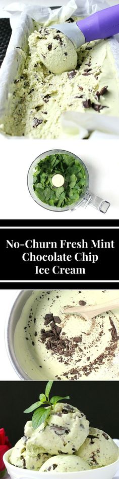 *don't add water to mint before pulsing. all-natural with ZERO mint extract or food coloring! this No-Churn Fresh Mint Chocolate Chip Ice Cream is SO easy, delicious, and totally organic. Mini Desserts, Ice Cream Desserts, Frozen Desserts, Ice Cream Recipes, Frozen Treats, Delicious Desserts, Delicious Chocolate, Summer Desserts, Mint Recipes
